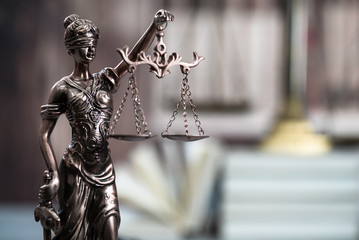 law concept, mallet of the judge, justice scale, books