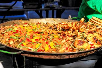 Shrimp Paella on sale at the Cortez Fish Festival Florida