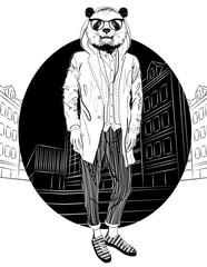 Fashion Hipster Panda on city background