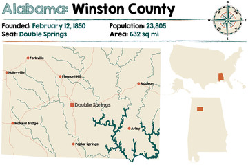 Large and detailed map of Winston County in Alabama.