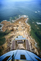 Aerial view of lighthouse with radar antenna - Phare de Gatteville, Barfleur, Basse Normandy, France