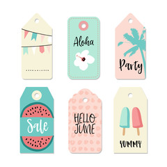Set of vintage sale and gift tags and labels. Summer tropical design with palm, watermelon, and popsicles. Isolated vector objects.