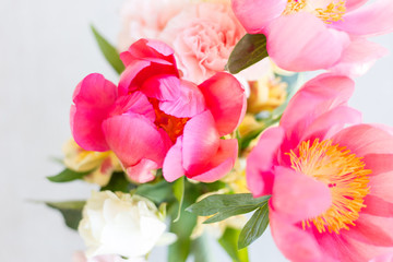 Pink Peonies and Colorful Carnations Bouquet