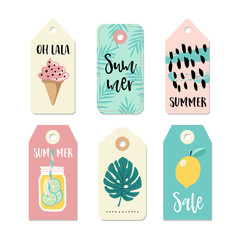 Set of vintage sale and gift tags and labels. Summer tropical design with drink in mason jar, ice cream and palm leaves. Isolated vector objects.