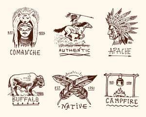 set of engraved vintage, hand drawn, old, labels or badges for indian or native american. buffalo, face with feathers, horse rider, apache or comanche, campfire and authentic.