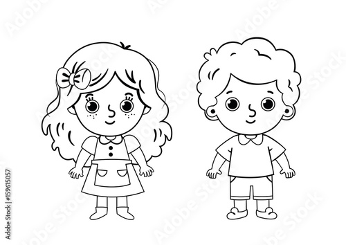 Two Kids Coloring Page (Vector illustration for kids and painting ...