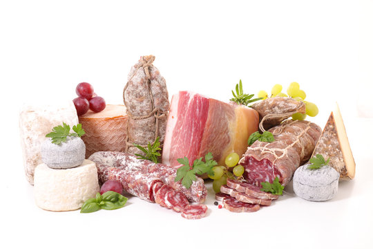 variety of charcuterie and cheese
