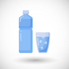 Bottle and glass of water vector flat icon