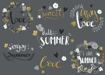 Set of hand drawn summer theme phrases. Vector lettering with rustic decorative elements. Vector collection of black, white, gold colored summer lettering.