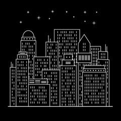 Night modern city Line art
