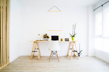 nordic workspace with banner