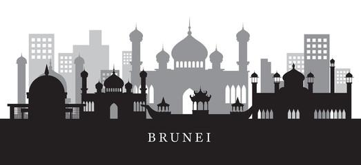 Brunei Landmarks Skyline in Black and White Silhouette
