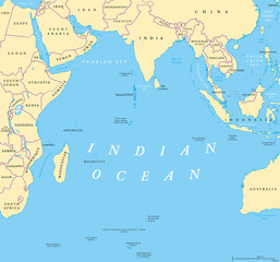 Indian Ocean political map. Countries and borders. World's third largest ocean division, bounded by Africa, Asia, Antarctica and Australia. Named after India.  Illustration. English labeling. Vector.