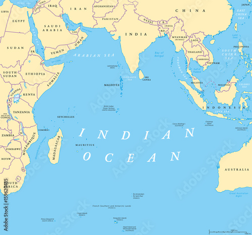 Indian Ocean Political Map Countries And Borders Worlds Third - World map with countries and oceans