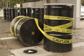 Caution Barrel Of Waste Containers