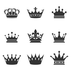 Collection of crown silhouette.Monarchy authority and royal symbols. Monochrome vintage antique icons. Crown symbol for your web site design, logo, app, UI. Vector illustration, EPS10.