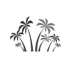 Palm trees silhouette on the white background. Vector illustration.Tropical exotic plant isolated on background. Modern hipster style apparel, poster, brochure design.