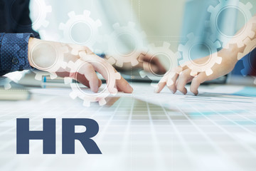 hr on virtual screen. Business, technology and internet concept.