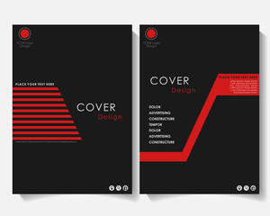 Black square annual report cover design template vector. Brochure concept presentation website portfolio. Red layout leaflet template. Magazine business advertising set Poster A4 size