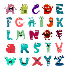 Cartoon flat monsters alphabet big set icons. Colorful monster kids toy cute monsters tongue. Vector