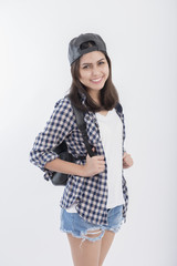 Beautiful travel girl isolated on white background