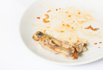 close up of chicken  bone on the white dish with with waste food  isolate background , waste food , chicken bone isolated white , copy space , spoon