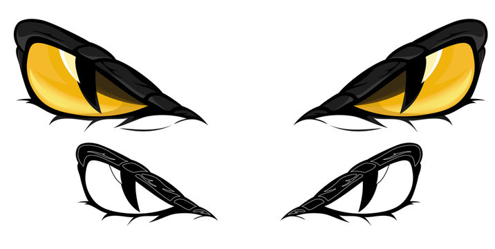 evil yellow snake eyes vector illustration