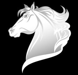 white horse profile head vector design