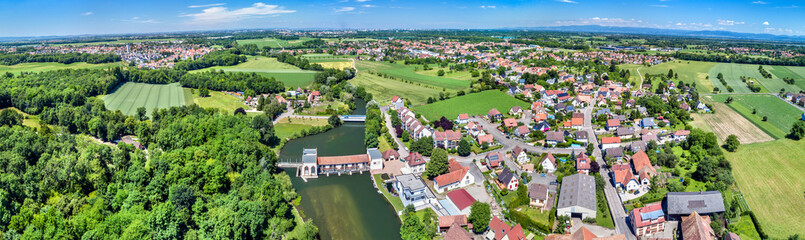 Aerial panorama of Eschau, a village near Strasbourg - Grand Est, France Fototapete