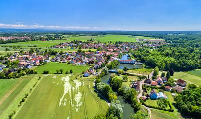 Aerial panorama of Eschau, a village near Strasbourg - Grand Est, France Wall mural