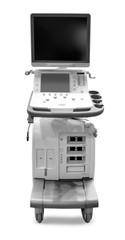 Modern ultrasound machine on white background