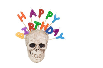 HAPPY BIRTHDAY candles embedded in smiling skull. Isolated. Horizontal.
