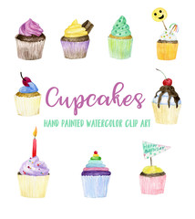 Cupcakes watercolor illustration.  hand painted clip art, food collection, sweets, holiday, Birthday party, Bridal shower, Wedding
