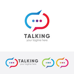 Talking log, chat, messaging, forum, vector logo template.
