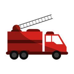 Fire truck puts out fire illustration vector design icon shadow