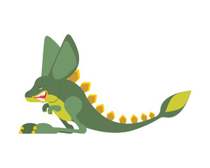 Prehistoric jerboa dinosaur. Dino is jumping. Raptor Animal Monster