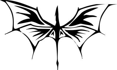 illustration - flat dragon tribal for tattoo