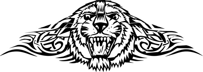 illustration - hea lion with pattern
