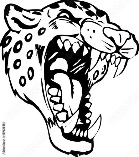 12cd7b24bfb9a tribal - jaguar head for tattoo design