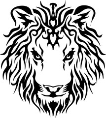tribal - lion head - tattoo design