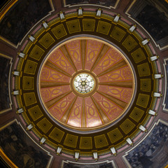 View of the dome and murals inside the Alabama State Capitol building in Montgomery