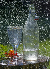 garden table with glass in rain