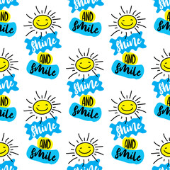Shine and smile seamless pattern.Cute texture