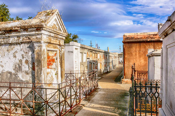 The above ground tombs of people in St. Louis Cemetery No.1 in New Orleans LA
