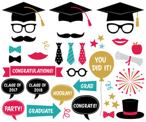 Graduation party design elements and photo booth props