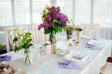 Wedding decor with fresh flowers