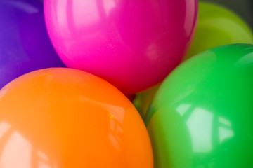Balloons of different colors related to each other.