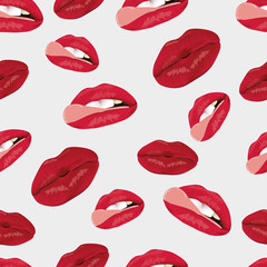 The pattern of female lips. A set of lips with an open mouth and teeth. A pattern of lips on a light background.