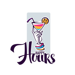 take  your summer drink and enjoy our happy hour! vector commercial background