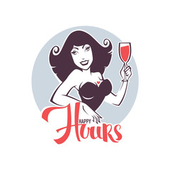 Take your drink and enjoy our happy hours! vector emblem, flyer, banner with pinup girl